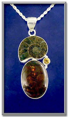 Ammonite/Amber Pendant - Clearance Jewelry, Clearance