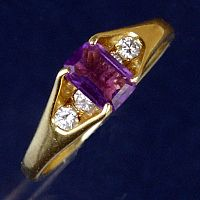 Yellow Gold Amethyst and Diamond Ring - Size 4.5 - Clearance Gold Jewelry - Huge Savings!, Clearance