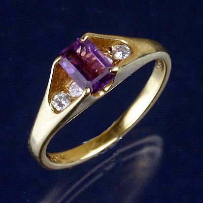 Yellow Gold Amethyst and Diamond Ring - Size 4.5