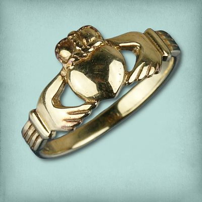 Yellow Gold Traditional Claddaugh Ring - Sizes 9 & 10 - Clearance Gold Jewelry - Huge Savings!, Clearance