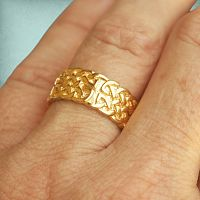 Yellow Gold Wide Celtic Knotwork Band - Size 8.5