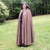 Extra Long Brown Striped Full Circle Cloak with Hood