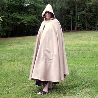 Pale Gold Full Circle Cloak with Hood and Pockets - Cloaks, Samhain / Halloween