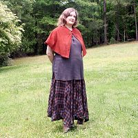 Rust Colored Half-Circle Capelet - Cloaks, Samhain / Halloween