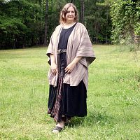 Lilac Striped Ruana - Cloaks, Samhain / Halloween
