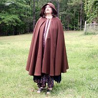 Full Circle Brown Cloak with Hood, Pockets and Trim - Cloaks, Samhain / Halloween