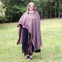 Dark Grey Viking Cloak with Trim