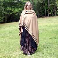 Tawny Gold Viking-Style Cloak with Trim
