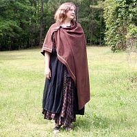 Dark Brown Viking Cloak with Trim - Cloaks, Samhain / Halloween