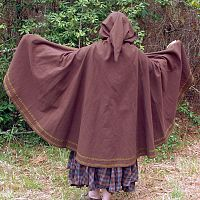 Dark Brown Half-Circle Cloak with Hood, Pockets, and Trim