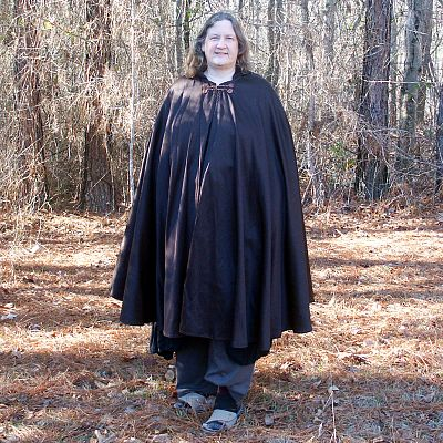 Black/Brown Full Circle Cloak with Hood