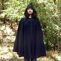 Full Circle Black Twill Cloak w/Hood and Pockets