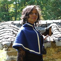 Wooly Blue Capelet with Trim - Cloaks, Samhain / Halloween