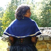 Wooly Blue Capelet with Trim