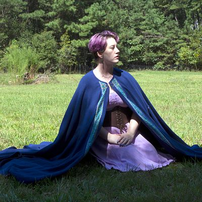 Full Circle Wooly Blue Cloak with Trim and Pockets