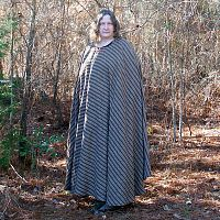 Extra Long Brown Striped Full Circle Cloak with Hood - Cloaks, Samhain / Halloween