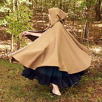 Full Circle Brown Cloak With Trim and Hood
