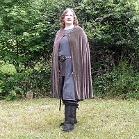 Pewter Grey Velvet Half Circle Cloak