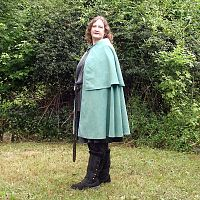 Half Circle Aqua Blue Cape with Capelet
