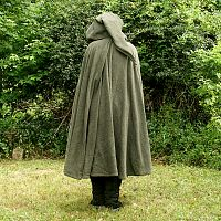 Mossy Green Full Circle Cloak with Pixie Hood and Pockets - Cloaks, Samhain / Halloween