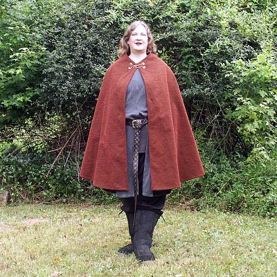 Dark Red Half Circle Cloak with Pockets