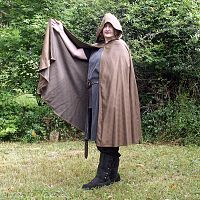 Brown Half Circle Cloak with Hood - Cloaks, Samhain / Halloween