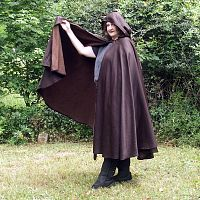 Black/Brown Full Circle Cloak with Pixie Hood