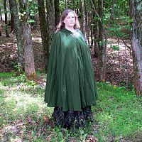 Full Circle Forest Green Cloak with Hood - Hand-Made Cloaks