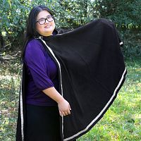 Half-Circle Wooly Black Cloak with Black and Silver Trim