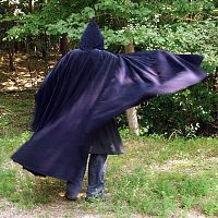 Full Circle Extra Long Blue Corduroy Cloak with Hood and Pockets