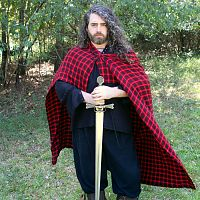Red and Black Plaid Viking-Style Cloak - Cloaks