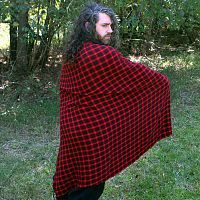 Red and Black Plaid Viking-Style Cloak