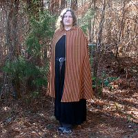 Red and Gold Striped Half-Circle Cloak - Cloaks, Samhain / Halloween