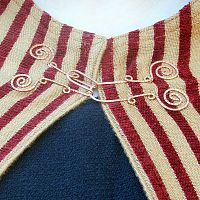 Red and Gold Striped Half-Circle Cloak