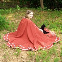Full-Circle Rusty Red Cloak with Trim and Pockets