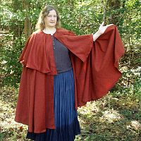 Full Circle Rusty Red Cape with Capelet