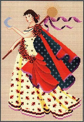 Dance of the Autumnal Equinox Cross Stitch Pattern - Counted Cross Stitch Patterns - Celtic Patterns, Pagan Patterns, Fantasy Patterns and more, Moons & Stars, Wheel of the Year
