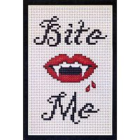 """Bite Me"" Cross Stitch Pattern - Counted Cross Stitch Patterns - Celtic Patterns, Pagan Patterns, Fantasy Patterns and more, Hearts & Romance"