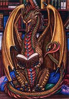 Book Wyrm Cross Stitch Pattern - Counted Cross Stitch Patterns - Celtic Patterns, Pagan Patterns, Fantasy Patterns and more, Here Be Dragons!