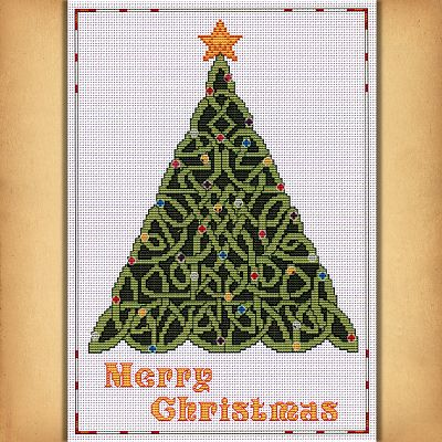 Celtic Christmas.Celtic Christmas Tree Cross Stitch Pattern