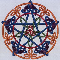 Celtic Pentacle Moon Cross Stitch Pattern