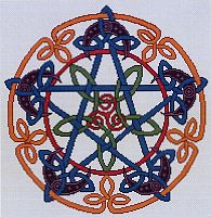 Celtic Pentacle Moon Cross Stitch Pattern - Cross-stitch Patterns, Pentacles, Moons & Stars