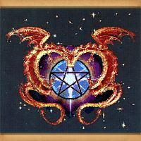 Dragon Love Cross Stitch Pattern - Cross-stitch Patterns, Here Be Dragons!, Pentacles, Moons & Stars, Stars, Gifts for Lovers, Pagan, Celtic Wedding & Claddaugh Wedding Accessories, Handfasting & Wedding, Hearts & Romance