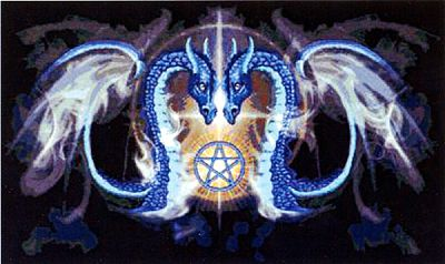 Dragon Kiss Cross Stitch Pattern - Counted Cross Stitch Patterns - Celtic Cross Stitch Patterns, Pagan Cross Stitch Patterns, Fantasy Cross Stitch Patterns and more, Here Be Dragons!, Pentacles