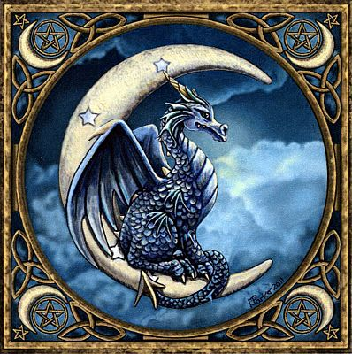 Moon Dragon Cross Stitch Pattern - Counted Cross Stitch Patterns - Celtic Patterns, Pagan Patterns, Fantasy Patterns and more, Here Be Dragons!, Moons & Stars