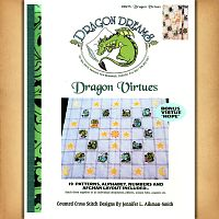 Dragon Virtues Cross Stitch Pattern - Counted Cross Stitch Patterns - Celtic Patterns, Pagan Patterns, Fantasy Patterns and more, Here Be Dragons!