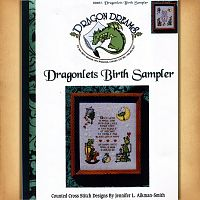 Dragonlet's Birth Sampler - Counted Cross Stitch Patterns - Celtic Patterns, Pagan Patterns, Fantasy Patterns and more, Here Be Dragons!