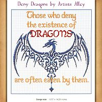 """Deny Dragons"" Cross Stitch Pattern - Counted Cross Stitch Patterns - Celtic Patterns, Pagan Patterns, Fantasy Patterns and more, Here Be Dragons!"