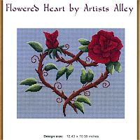 Flowered Heart Cross Stitch Pattern