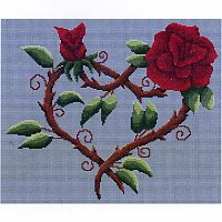 Flowered Heart Cross Stitch Pattern - Reiki Candles, Candles, Holders, Altar Accessories, Hearts & Romance
